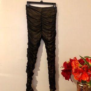 49e4e29497bdbe Charlotte Russe Pants | Black Over Nude Mesh Ruched Leggings | Poshmark